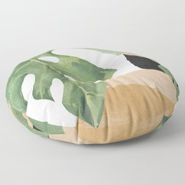 Abstract Art Tropical Leaves 3 Floor Pillow