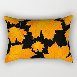 Orange Maple Leaves Black Background #decor #society6 #buyart Rectangular Pillow