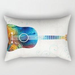 Colorful Guitar Art by Sharon Cummings Rectangular Pillow