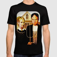 Dwight Schrute & Angela Martin (The Office: American Gothic) Mens Fitted Tee Black MEDIUM