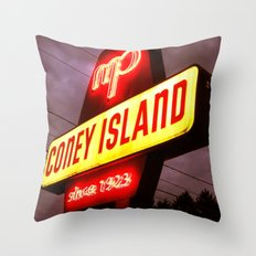 Small Town Coney Island Throw Pillow