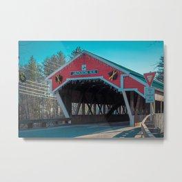 East Entrance Honeymoon Bridge Jackson New Hampshire Covered Bridge Historic Red Metal Print