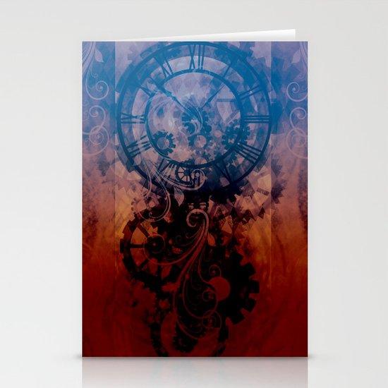 Steampunk clock Stationery Cards