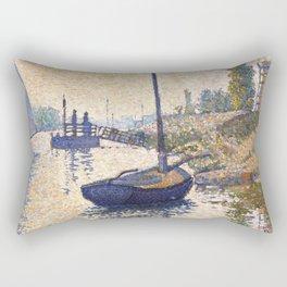 """Paul Signac """"Le ponton de la Félicité. Asnières (Opus no. 143)"""" Rectangular Pillow"""