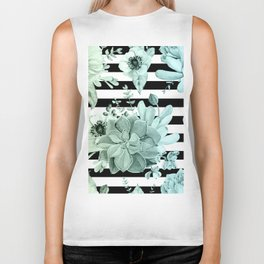 Succulents in the Garden Teal Blue Green Gradient with Black Stripes Biker Tank