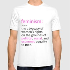 Feminism Defined White MEDIUM Mens Fitted Tee