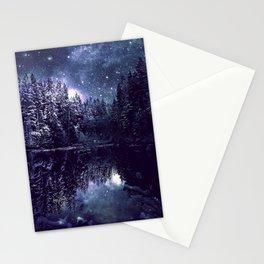 A Cold Winter's Night Midnight Blue Winter Wonderland Stationery Cards