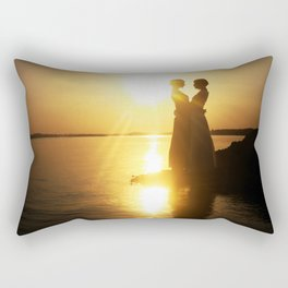 Silhouette couple kissing over sunset background Rectangular Pillow