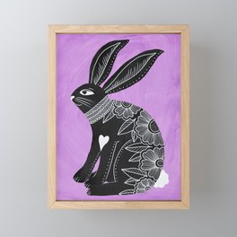 Folk Art Bunny Framed Mini Art Print