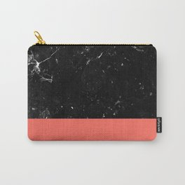 Living Coral Meets Black Marble #1 #decor #art #society6 Carry-All Pouch