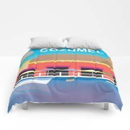 Cozumel, Mexico - Skyline Illustration by Loose Petals Comforters
