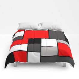Red Black and Grey squares Comforters