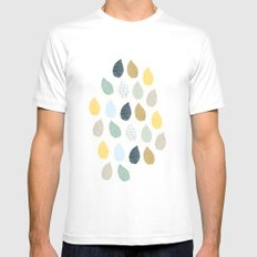 rain drops pattern MEDIUM White Mens Fitted Tee