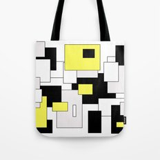 Squares - yellow, black and white. Tote Bag