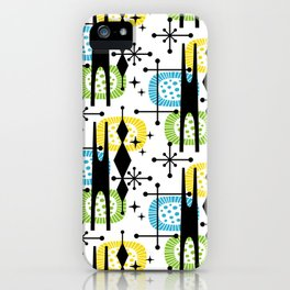 Retro Atomic Mid Century Pattern Yellow Green and Turquoise iPhone Case