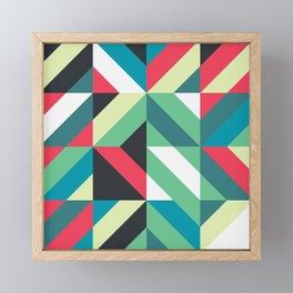 Colorful Shapes Texture, Retro Style, Framed Mini Art Print