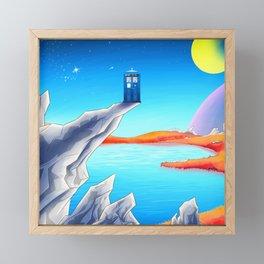 tardis space at starry night Framed Mini Art Print