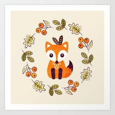 LITTLE FOX WITH AUTUMN BERRIES Art Print