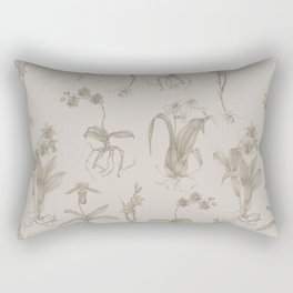 Orchid All-Over Pattern Tan Rectangular Pillow