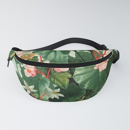 Pink Floral The Oblique-Leaved Begonias : Temple of Flora Fanny Pack
