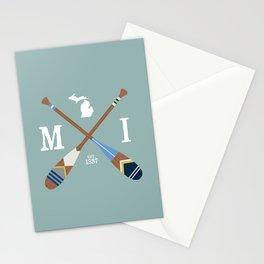 Paddle MI, Michigan Lake Life Painted Oars Stationery Cards