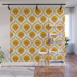 Ivory, Orange, Yellow and Brown Floral Retro Vintage Pattern Wall Mural