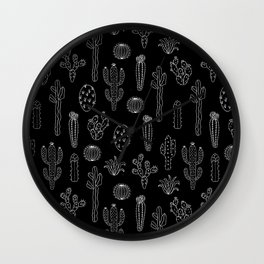 Cactus Silhouette White And Black Wall Clock
