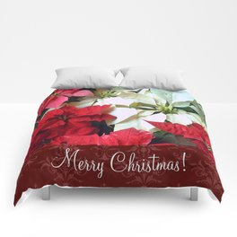 Mixed color Poinsettias 1 Merry Christmas S5F1 Comforters