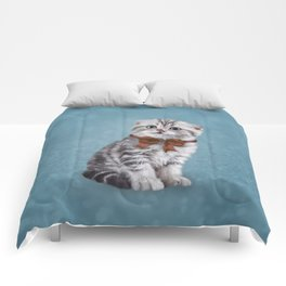 Drawing funny kitten Comforters