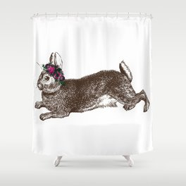 The Rabbit and Roses Shower Curtain