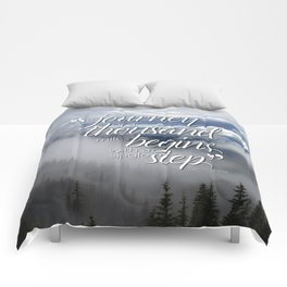 A journey of a thousand miles begins with a single step Comforters