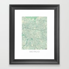 Sao Paulo Map Blue Vintage Framed Art Print