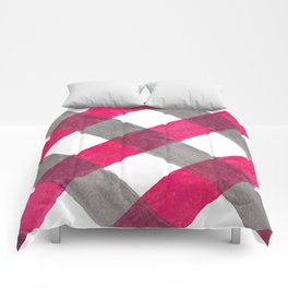 Geometrical magenta pink gray watercolor plaid Comforters