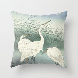 Herons in Shallow Water, Ohara Koson, 1934 Throw Pillow
