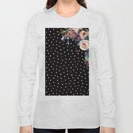 Boho Flowers and Polka Dots on Black Long Sleeve T-shirt