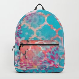 Mixed Media Layered Patterns - Turquoise, Pink & Coral Backpack