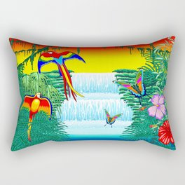Waterfall Macaws and Butterflies on Exotic Landscape in the Jungle Naif Style Rectangular Pillow