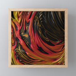 LAVA red, gold & black in flowing abstract 3D streams Framed Mini Art Print