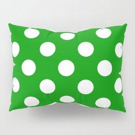 Islamic green - green - White Polka Dots - Pois Pattern Pillow Sham