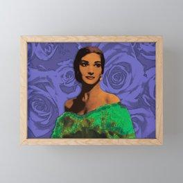 Maria Callas Stenciled Indigo Framed Mini Art Print