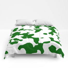 Large Spots - White and Dark Green Comforters