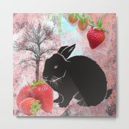 Black Rabbit and Strawberries Metal Print