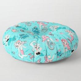 Babydoll Mermaids on Aqua Floor Pillow