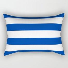 Dark Princess Blue and White Wide Horizontal Cabana Tent Stripe Rectangular Pillow