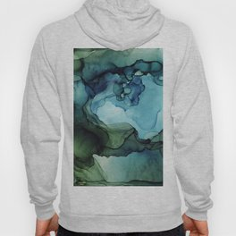 Land and Water Abstract Ink Painting Blues and Greens Hoody