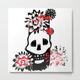 halloween skull and flowers Metal Print