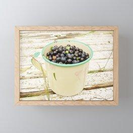 Blueberries in enamel mug by poppyshome Framed Mini Art Print