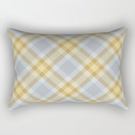 Yellow Gray Plaid Rug Rectangular Pillow