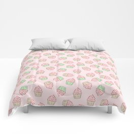 Cupcakes - Pink and Mint Doodle Pattern Comforters