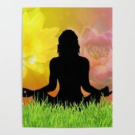 Meditation in Grass Lotus Flower Sky Poster